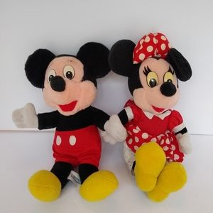 Vintage Mickey and Minnie Mouse plush stuffed toys
